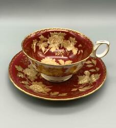 Wedgwood Tonquin Ruby Cup And Saucer Bone China Porcelain 1950-1962 Antique 4406