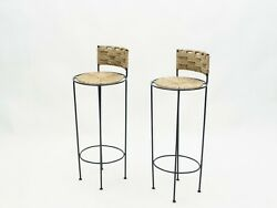 Pair Of French Bar Stools Rope And Metal By Audoux Minet 1950s