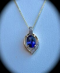 0.96ct Tanzanite And Dia Pendant And Chain 9k Y Gold 'certified Aa' Fab Colour Bnwt