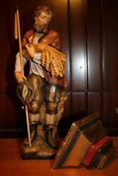 ✟✟ Nm 14 Wooden Hand Carved Patron Saint St Isidore The Farmer Statue Figure ✟✟