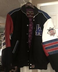 Mlb Los Angeles Dodgers Jh Design Wool And Leather Varsity Jacket