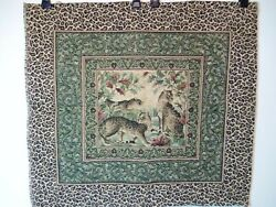 Vintage tapestry leopards animal print wall hanging 26quot; x 29quot; seat table cover