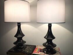 Pair Of Black Corkscrew Lamps-1980and039s With New White Silk Shades