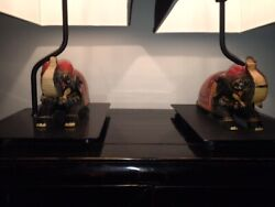 Pair Of 1970's Gump's Department Store, Hand Painted Elephant Lamps