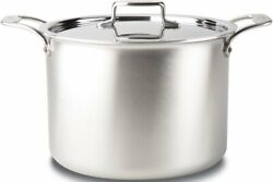 Brushed 18/10 Stainless Steel 5-ply Bonded Dishwasher Safe W/ Lid Cookware 12-qt