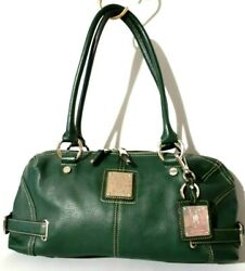 Tignanello Forest Green Pebbled Leather Shoulder Handbag Women#x27;s Satchel Purse $32.99