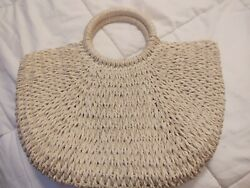 Handwoven Ratan Straw Top Handle Boho Bohemian Tote Beach Bag $17.99