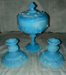 Fenton Blue White Slag - Cabbage Rose Candy Dish W/lid And Candle Holders