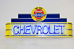 Large 4 Ft Chevrolet Neon Garage Sign - Made In Usa Gas And Oil Porcelain Sign