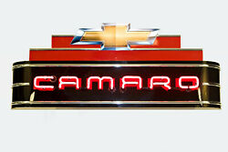 Large 4 Ft Camaro Neon Garage Sign - Made In Usa Chevy Gas Oil Porcelain Sign