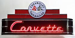 Large 4 Ft Corvette Neon Garage Sign - Made In Usa Chevy Gas Oil Porcelain Sign