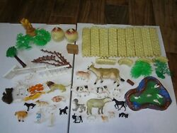 Large Collection Of Antique Vintage Farm Animals Toys Fence Haystacks Pond