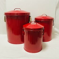 Set Of 3 Red Metal Classic Garbage Can Design Containers Toy Storage Bins