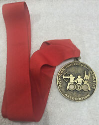Michigan Wheelchair Athletic Association 1996 Gold Medal 2.5 W/ Red Neck Ribbon