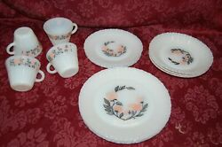 Termocrisa Vintage 16 Pieces Milk Glass Dishes Pink Floral Dinner Lunch Bowl Cup