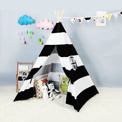 Large Kids Teepee Play Tent Childrens Cotton Canvas Indoor Outdoor Playhouse