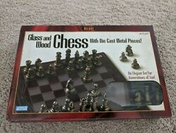 Hasbro Deluxe Glass And Wood Chess Set With Die Cast Metal Pieces