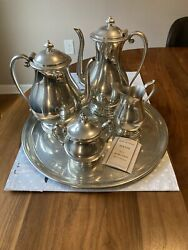 KIRK STIEFF Modern amp; Colonial 5 Pc Pewter Tea Coffee Service Set $85.00