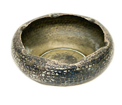 Roycroft Silver Etched Copper Bowl Hand Hammered Texture