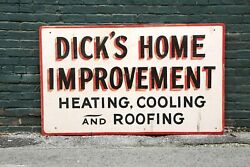 Vintage Dicks Home Improvement Heating Cooling Roofing Wood Sign Roof Sign Old