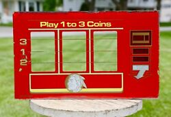 Antique Slot Machine Glass Insert Sign Indian Chief Coin Op Vegas Casino Game