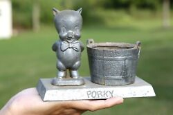 Vintage Porky Pig Coin Bank Bucket Pail Cast Metal Cartoon Old Toy Money Statue