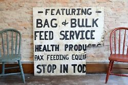Old Wood Feed Seed Sign Farm Hardware General Store Cattle Hogs Farmhouse White