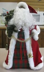 """20"""" Holiday Workshop African American Santa Tree Topper Table Decoration"""