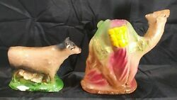 Vintage Chalkware Nativity Animals Large Camel And Bull - Cow