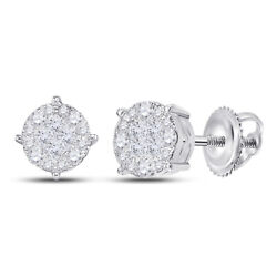 14kt White Gold Womens Princess Round Diamond Cluster Earrings 1 Cttw