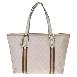 Auth GUCCI GG Pattern Sherry Shoulder Tote Bag Canvas Leather Charm Pink 60MD918 $219.76