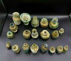 Old Antique Ancient Roman Glass Perfume Bottles Collectable