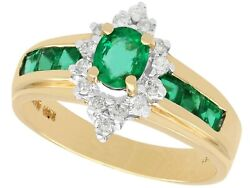 Vintage 0.62 Ct Emerald And 0.14 Ct Diamond 14k Yellow Gold Dress Ring
