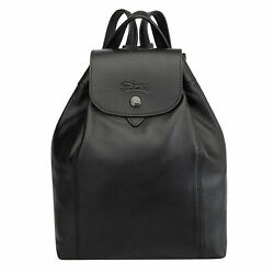 Longchamp Womens Backpack Le Pliage Cuir Black Leather Rucksack School College
