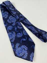 Recent Lanvin Paris Blue Gold Feather And Floral 100 Silk Tie Made In France