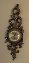 Vintage Gold Leaf Syroco Wood Baroque Scroll Wall Hanging 8 Day Jeweled Clock
