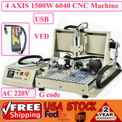 3/4/5axis Cnc Router 6040 Usb 1500w Router Milling Engraving Cutting Machine Us