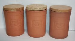 Reco 1987 Portugal Terracotta Clay Ceramic Canisters Wood Lid Coffee Sugar Tea