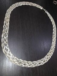 Mexican Sterling Silver Strand Braided Serpentine Chain Necklace