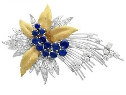 1.60ct Sapphire And 1.12ct Diamond 18ct Yellow Gold Spray Brooch - Vintage 1991