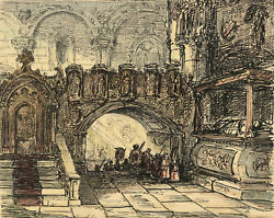Alfred Crowquill Church Interior With Procession Andndash Mid-19th-century Ink Drawing