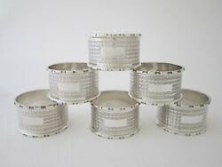 Set Of 6 Heavy Antique Sterling Silver Napkin Rings - 1939 By William Aitken