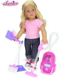 Sophiaand039s Doll Accessories For Cleaning   18 Doll Sized Vacuum Broom Dust Pan
