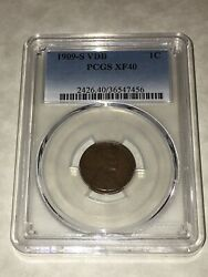 1909 S Vdb Pcgs Xf40 1c Lincoln Cent Wheat Ears Penny Decent Coin