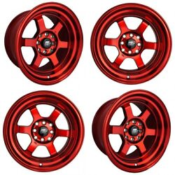 Set Of Four New Mst Wheels Time Attack 15x8 4x100/114.3 +0 Ruby Red