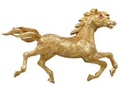 Vintage Circa 1960 Ruby And 18k Yellow Gold 'horse' Brooch