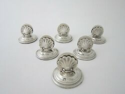 Set Of 6 Antique Sterling Silver Menu/place Card Holders - 1904/5 By Harry Hayes