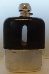 Shop Display James Dixon Solid Silver Leather Bound Glass Hip Flask 1 1/4 Pint