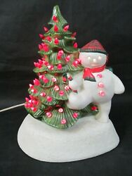 Vintage Ceramic Lighted Christmas Tree With Snowman