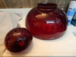 Vintage 1973 14 Ruby/cranberry Glass Dome Shade And Font Usa Made New Old Stock